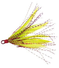 Fancy Feather Treble Hooks#2 - Chartreuse Red - 2 per Pack